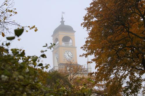 Klocktorn, dimma och gula löv
